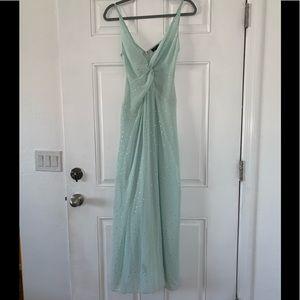 Topshop, Blue long flowy polka dot dress